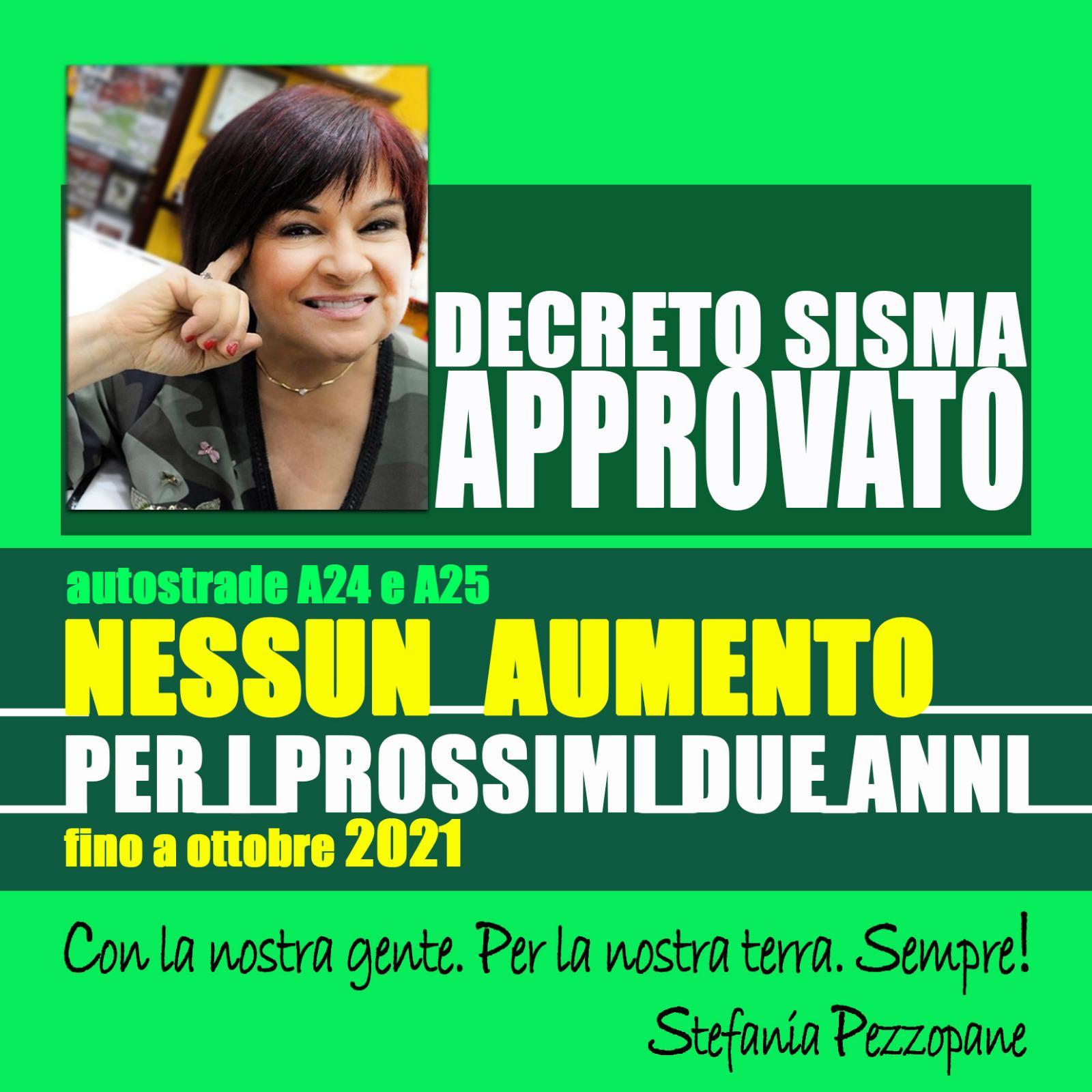 VITTORIA!!!!! Dl Sisma: Pezzopane (Pd), blocco di due anni su aumento pedaggi A24-A25