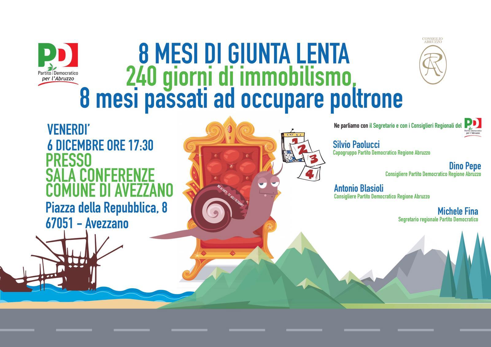 Venerdì 6 dicembre ore 17,30 sala conferenze del Comune di Avezzano incontro pubblico con i consiglieri Regionali del Partito Democratico